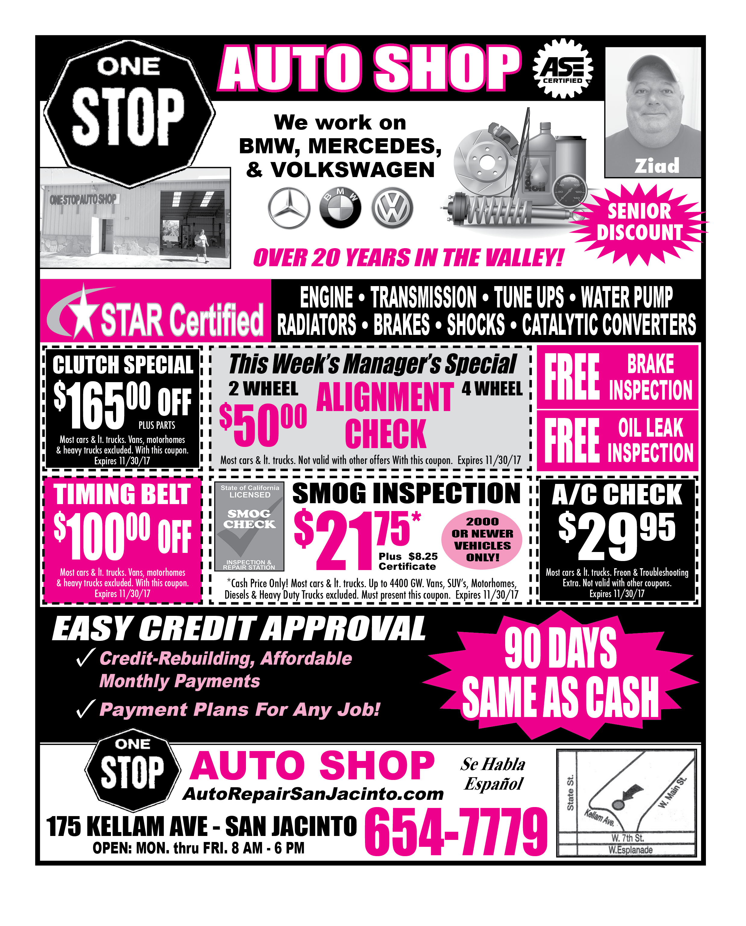 COUPONS – e Stop Auto Shop – Easy Ad – Hemet s st Advertiser